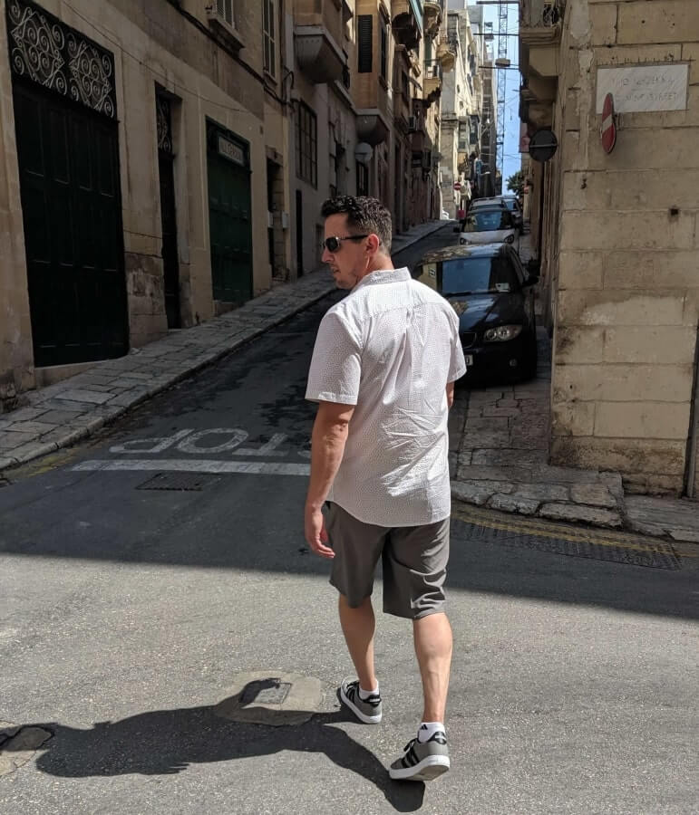 Walking through Valletta Malta in O'Neill Men's Hybrid Shorts
