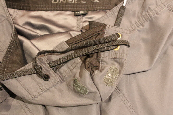 Four eyelets for drawstrings as well as velcro closure in front on O'Neill Board Shorts