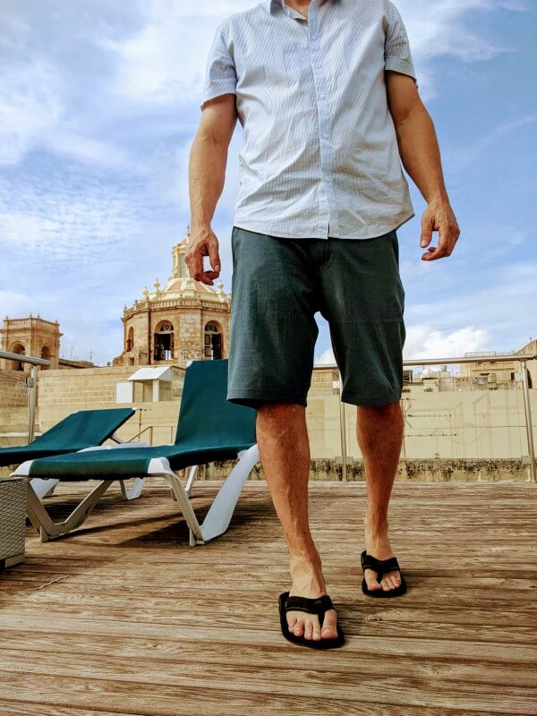 Wearing Volcom Hybrid Shorts on a rooftop in Valletta, Malta