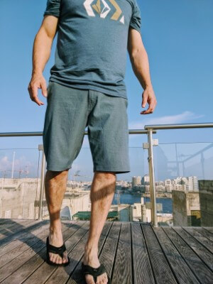 Wearing the Men's Volcom Surf and Turf Hybrid Shorts on a rooftop in Valletta, Malta