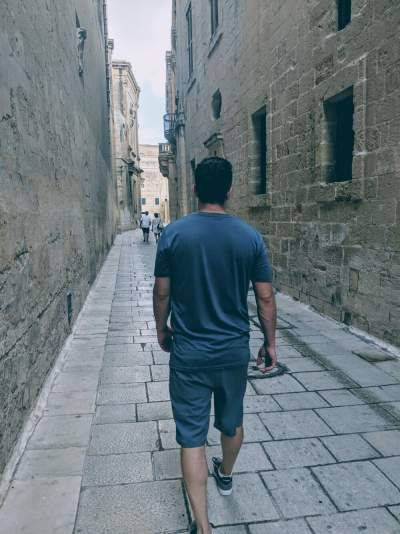 Walking throught the streets of Valletta in the Volcom Hybrid Board Shorts