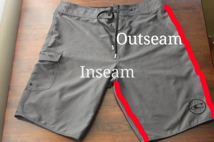 Showing the location of inseam and the outseam on a pair of shorts.